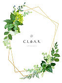 Greenery wedding simple invitation. Watercolor style geometry card.