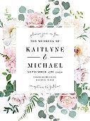 Elegant wedding card with spring flowers