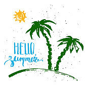 Summer print with palm trees, sun and hello summer lettering