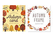 Autumn trees and leaves cards