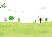 Meadow and trees watercolor
