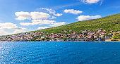Villages on the coast in the Kotor bay, Adriatiac sea, Montenegro