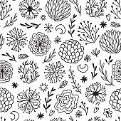 Seamless doodle pattern. Ornamental decor elements. Repeat background with flowers, snowflakes and branches. Seamless design for fabric, wallpaper or wrapping paper.
