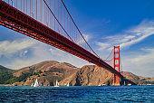 Sailing Under Golden Gate Bridge in Sailboats