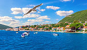 Seagull flying by the Coast of the Adriatic sea and Yachts, Kotor area, Montenegro