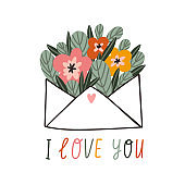 Vector hand drawn illustration. Valentines day card design. Love letter with a bouquet of flowers.