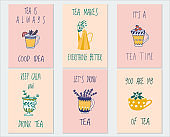 Vector collection of postcard in teatime subjects. Set of posters with tea cup, teapot and lettering. Perfect for greetings, cards, congratulations, warm wishes, tea shop or store
