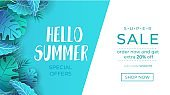 Summer sale banner with paper cut tropical leaves. Exotic design concept for web, banners, invitations etc. Trendy summer background. Vector illustration