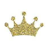 Gold glitter crown, royal sign on white background