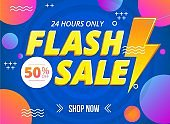 Bright flash sale banner template with sign