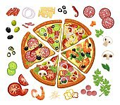 Pizza constructor with different ingredients
