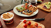 Set with toast bread and different healthy vegetarian toppings. Vegetarianism, healthy food concept