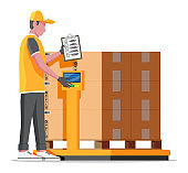 Warehouse worker is weighing the cargo.