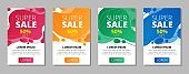 Abstract super sale banners with lettering set