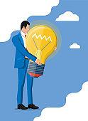 Businessman with light idea bulb.