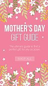Mothers day gift guide banner on pink backdrop