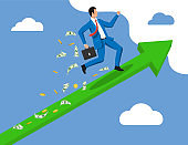 Businessman on chart ladder is fast running