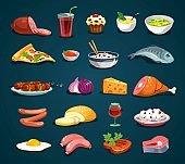 Cartoon food icons set isolated on dark background