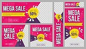 Sale banners set promo templates with text
