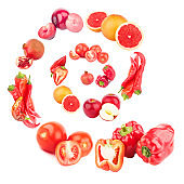 Spiral from red fruits and vegetables, isolated