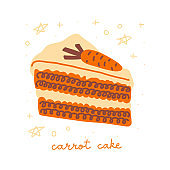 Carrot cake illustration, isolated