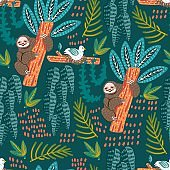 Seamless pattern with sloth. Forest pattern vector background