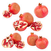 Set of different variations of red pomegranate, isolated