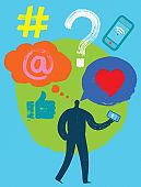 Social Media Follower, Social Media Symbols, Vector Illustration, Silicon Valley Man, Social Media, Millennial, posting, smartphone, digital marketing, blogger, follower, Facebook, Snapchat, LinkedIn, WhatsApp, Instagram, e-marketing, like, #, at Symbol