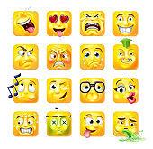 Emoji Emoticon Faces 3d Icon Cartoon Character Set