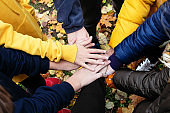 Close up of many Caucasian arms and hands put together in a circle heap as a sign of friendship and success