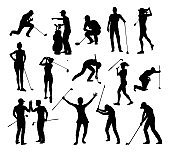 Golfer Golf Sports People Silhouette Set