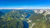 Lake Grundlsee and Toplitzsee with Glacier Dachstein in back, Austria - Aerial Panorama