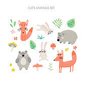 Forest animals collection for children