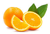 Whole, cross section and quarter of fresh organic navel orange with leaves in perfect shape on white isolated background, clipping path. Orange have vitamin c, sweet and delicious. Fresh fruit concept