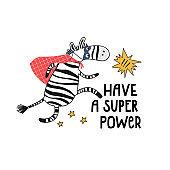 Cartoon card with cute hero zebra