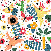 Seamless pattern with parrot and flowers