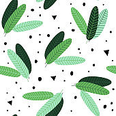Seamless pattern with banana leaves