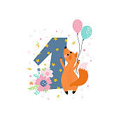 Birthday anniversary number with cute fox