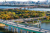 Autumn scenery of the Han River in Seoul, South Korea in 2020.