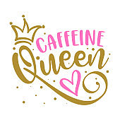 Caffeine Queen - label, gift tag, text.