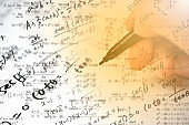 A note full of mathematical formulas. Education concept