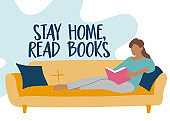 Stay home, read books - Woman with book sitting on the sofa