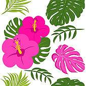 Cute tropical leaves and flowers pattern background