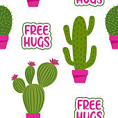 Cute tropical cactus seamless pattern background