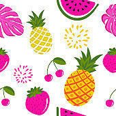 Cute tropical fruits pattern background