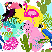 Toucan, Flamingo, Parrot, Cute tropical leaves and plants pattern background