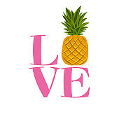 Love pineapple - funny letters, vector saying.
