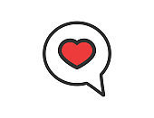 Bubble message with heart inside. Talk icon with love symbol. Template of text dialogue. Social label for chatting. Discussion sticker in love style. Isolated icon of communication. Vector EPS 10.