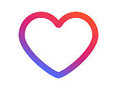 Heart shape icon in colorful rainbow design. Valentine or romantic mood. Love or romance symbol. Illustration of wedding logo in simple modern style. Vector EPS 10.