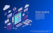 Mobile shopping vector concept